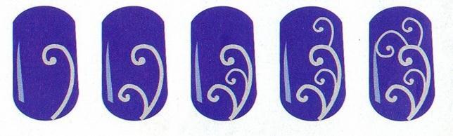 Легкие рисунки на ногтях белым
