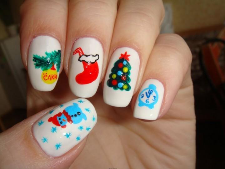 Идеи новогоднего дизайна ногтей 20142