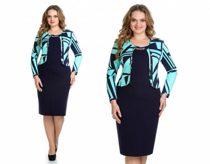 Трикотажное платье для крупных модниц1