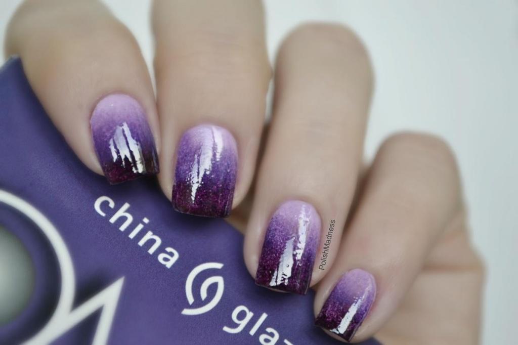 Фиолетовый омбре на ногтях